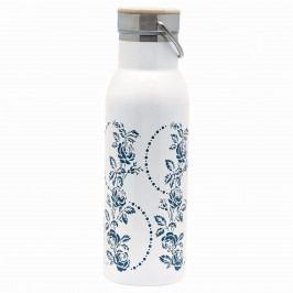 Termoska Fleur blue 500 ml, modrá barva, bílá barva, kov