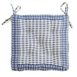 Sedák Blue/cream 40x40 cm, modrá barva, krémová barva, textil