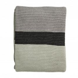 Pletený přehoz Mint/Grey/Dark Grey, zelená barva, šedá barva, textil