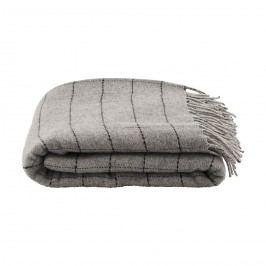Vlněný přehoz Square 130x170 cm, šedá barva, textil