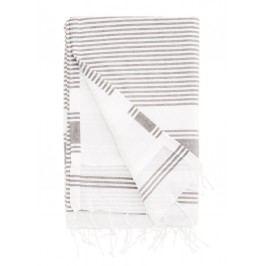 Osuška Stripe Dark Grey 90x180 cm, šedá barva, textil