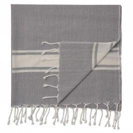 Bavlněná osuška Hammam Light Grey/Offwhite Stripes, šedá barva, krémová barva, textil
