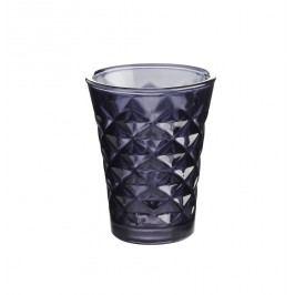 Svícen Facet glass Dark purple 10 cm, fialová barva, sklo