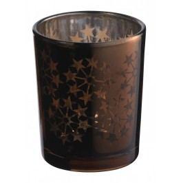 Svícínek Brown stars, hnědá barva, sklo