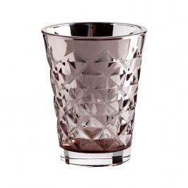 Svícen Facet glass Dusty rose 10 cm, růžová barva, sklo