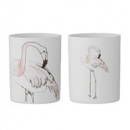 Porcelánový svícen Flamingo Větší plameňák, růžová barva, bílá barva, porcelán