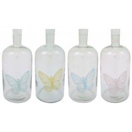Skleněný svícen Butterfly - láhev velká Varianta A - modrý, čirá barva, sklo