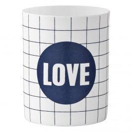Porcelánový svícínek Love, modrá barva, bílá barva, porcelán