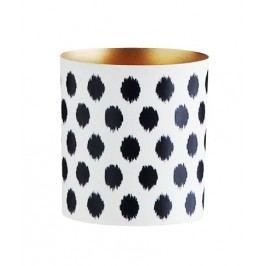 Svícen Black dots/gold, černá barva, bílá barva, kov