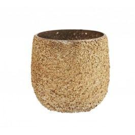 Skleněný svícínek se zlatými korálky, zlatá barva, sklo, plast