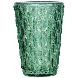 Blossom Skleněný svícen Crystal Green, zelená barva, sklo