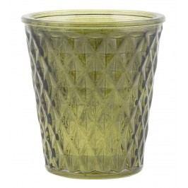 Skleněný svícen Checkered Green, zelená barva, sklo