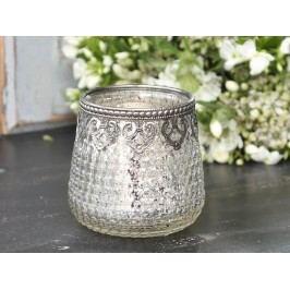 Skleněný svícen s kovovým okrajem Silver, stříbrná barva, sklo