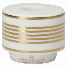 Svícen Stripe gold, bílá barva, zlatá barva, keramika