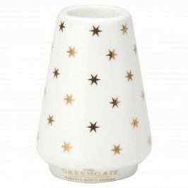 Svícínek Nova gold, bílá barva, zlatá barva, keramika