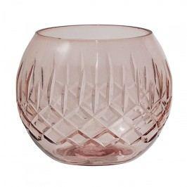 Skleněný svícen Rose Cutting, růžová barva, sklo
