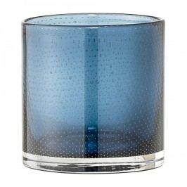 Skleněný svícen Dot Blue, modrá barva, sklo