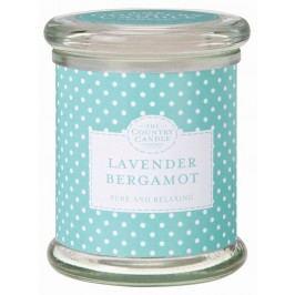 Svíčka ve skle - Levandule a bergamot, modrá barva, zelená barva, sklo