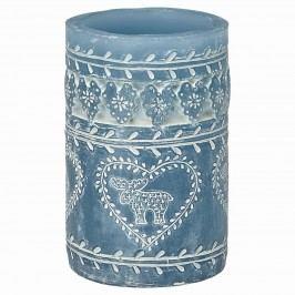 Svíčka Pillar dusty blue 12 cm, modrá barva