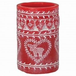 Svíčka Pillar red 12 cm, červená barva