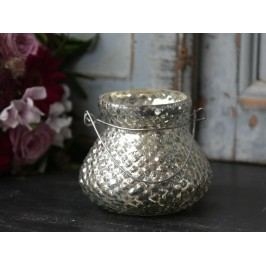 Malá lucerna Antique silver, stříbrná barva, sklo