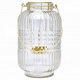 Skleněná lucerna Nova clear, zlatá barva, čirá barva, sklo