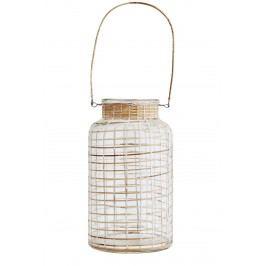 Skleněná lucerna Clear/bamboo, čirá barva, přírodní barva, sklo, dřevo