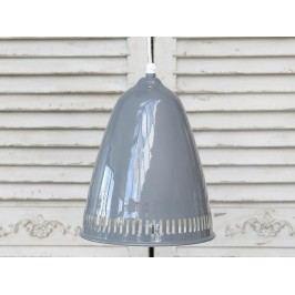 Stropní lampa Enamel grooves grey, šedá barva, kov