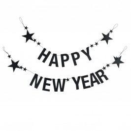 Papírová girlanda Happy New Year, černá barva, papír