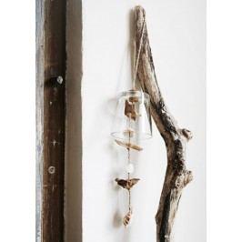 Skleněný zvonek s mušličkami, béžová barva, bílá barva, sklo, dřevo