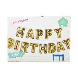 Nafukovací balónky HAPPY BIRTHDAY, zlatá barva, plast