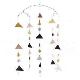 Závěsná dekorace Geometry Glitter, růžová barva, multi barva, zlatá barva, kov, papír