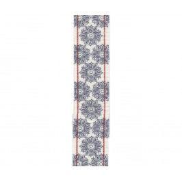 Bavlněná stuha Flower grey/blue, modrá barva, šedá barva, textil