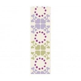 Bavlněná stuha Clover green/purple, fialová barva, zelená barva, textil