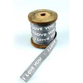 La finesse Bavlněná stuha Love, šedá barva, textil