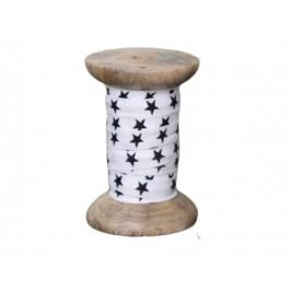 Dekorativní bavlněná stuha Stars, černá barva, bílá barva, textil