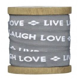 Bavlněná stuha Live-Laugh-Love, šedá barva, textil