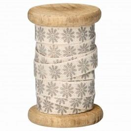 Dekorativní stuha na špulce Bianca warm grey - 5m, šedá barva, bílá barva, dřevo, textil