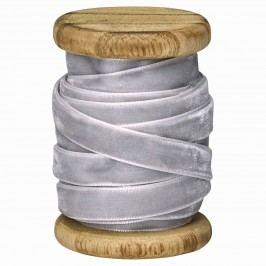 Sametová stuha na špulce Pale grey - 5m, šedá barva, dřevo, textil