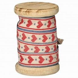 Dekorativní stuha na špulce Micha red - 5m, červená barva, dřevo, textil