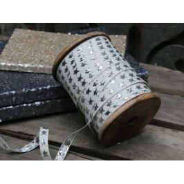 Dekorativní stuha s hvězdami Star Silver, bílá barva, stříbrná barva, textil