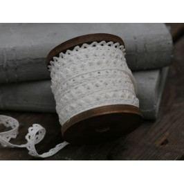 Krajková stuha na špulce White - 5 m, bílá barva, textil
