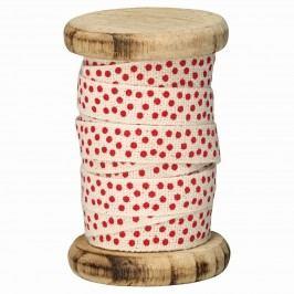 Bavlněná stuha Spot red - 5 m, červená barva, béžová barva, textil
