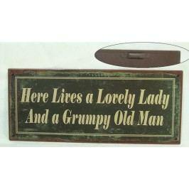 La finesse Plechová cedule Lady/Man, šedá barva, kov