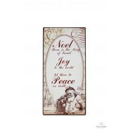 La finesse Plechová cedule Noel, béžová barva, bílá barva, hnědá barva, kov