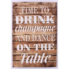 La finesse Dřevěná cedule Time to drink, hnědá barva, dřevo