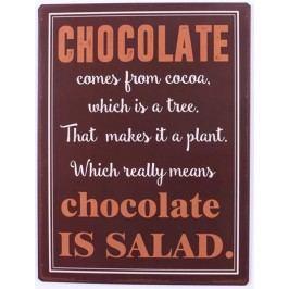 La finesse Plechová cedule Chocolate, hnědá barva, kov
