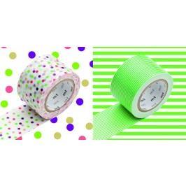 mt Designové samolepící pásky drop x green - set 2 ks, papír