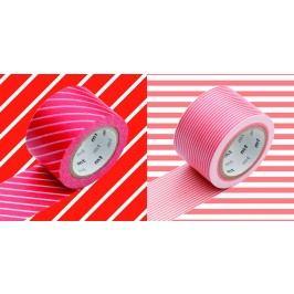 mt Designové samolepící pásky red x border sango - set 2 ks, červená barva, růžová barva, papír