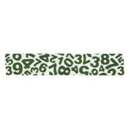 Designová samolepící páska Number white/green, zelená barva, bílá barva, papír